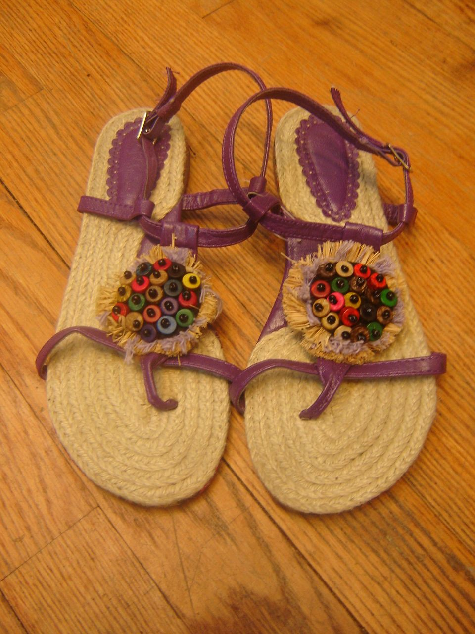 46da13682 ANNA Size Youth-4 Purple Buckle Sandals With Beaded Design