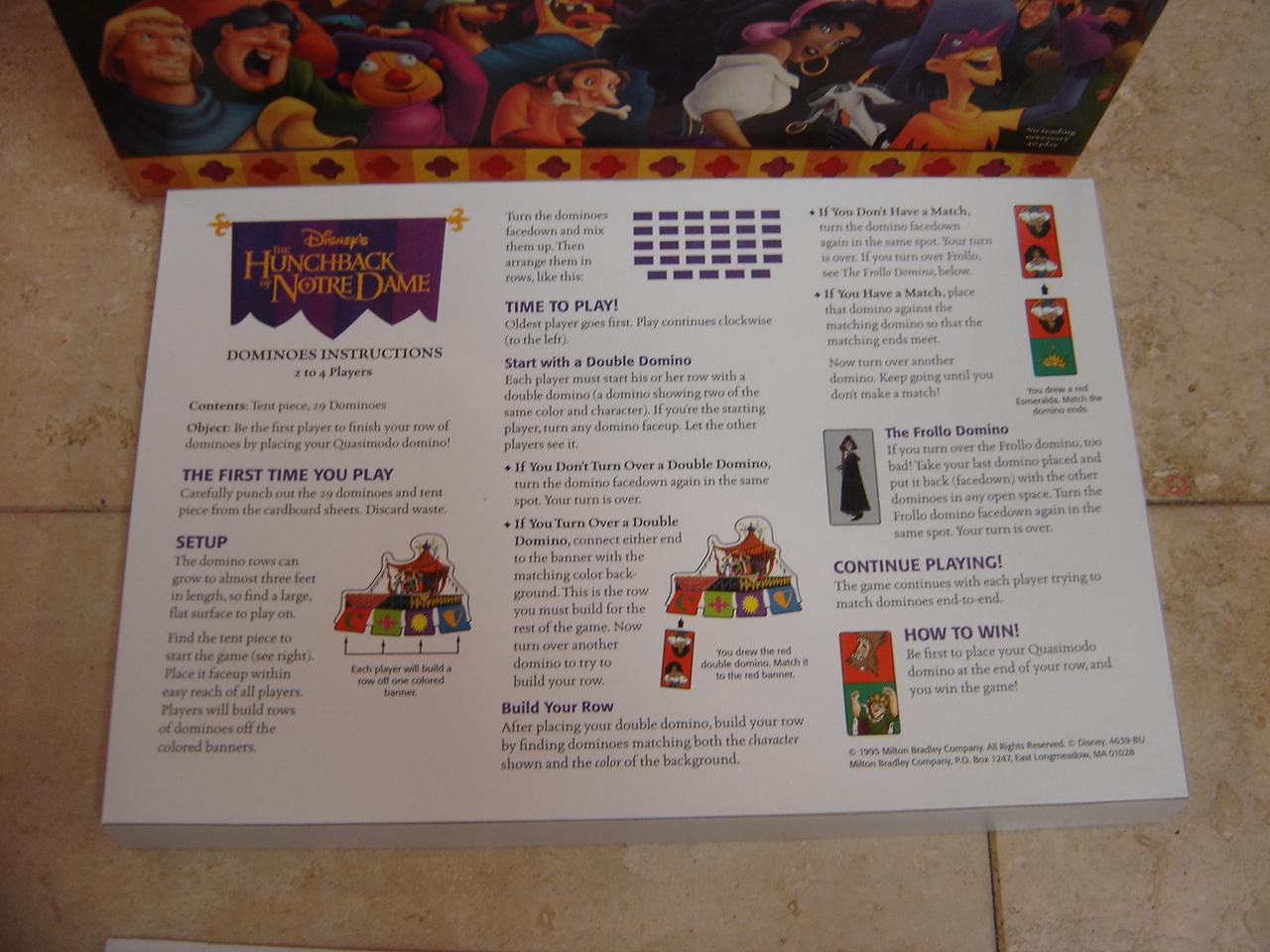 Disney The Hunchback Of Notre Dame Dominoes Game Complete Enkore Kids