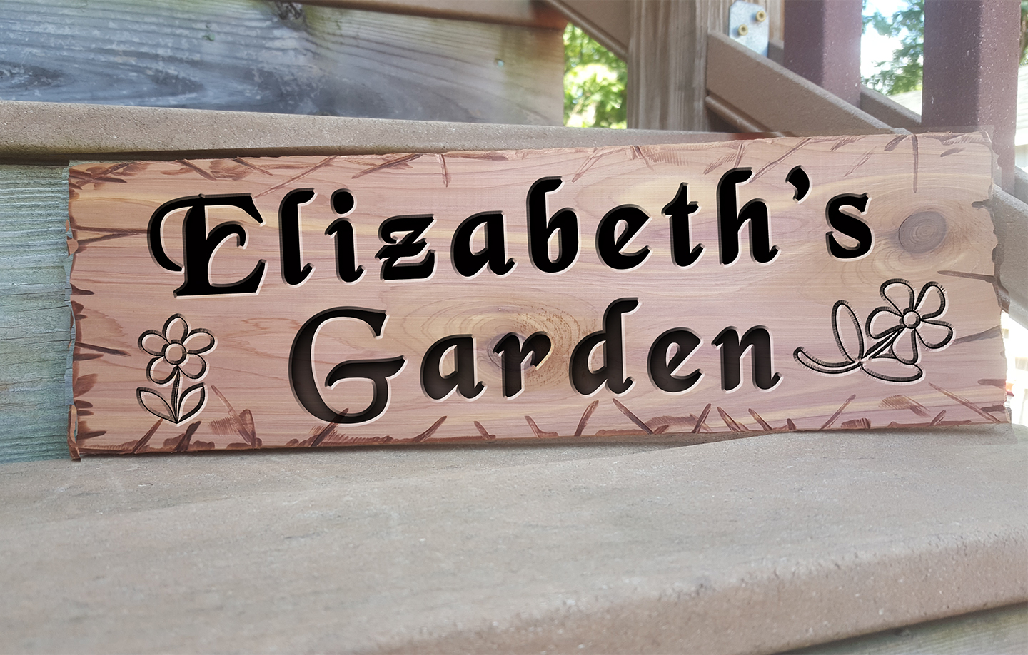 Garden Personalized Name Custom Hand Routed Wood Cedar  ...