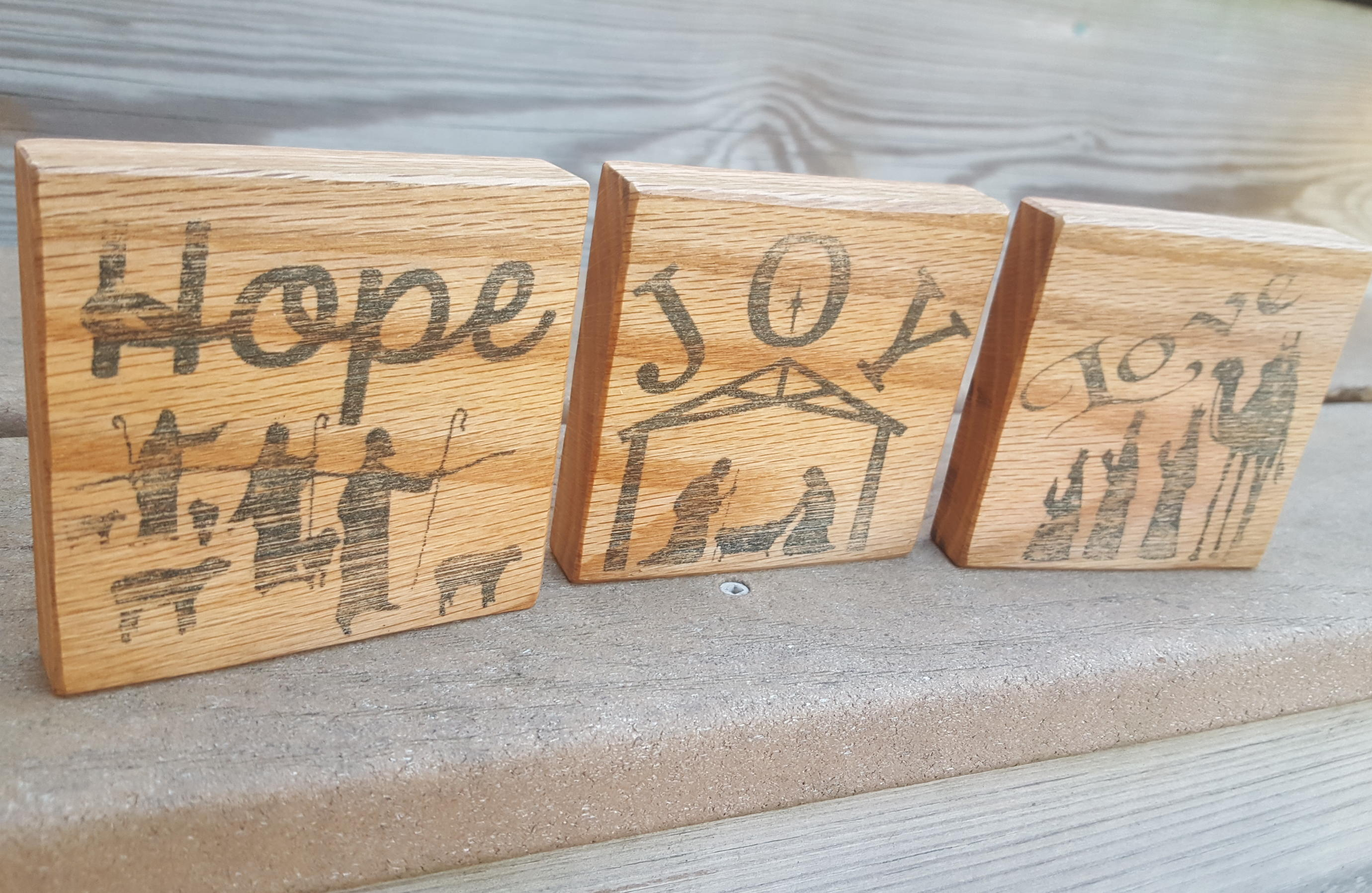 Wood Block Wall Handmade Inked Christmas Nativity 3 Piece Oak Wood Block Set Black