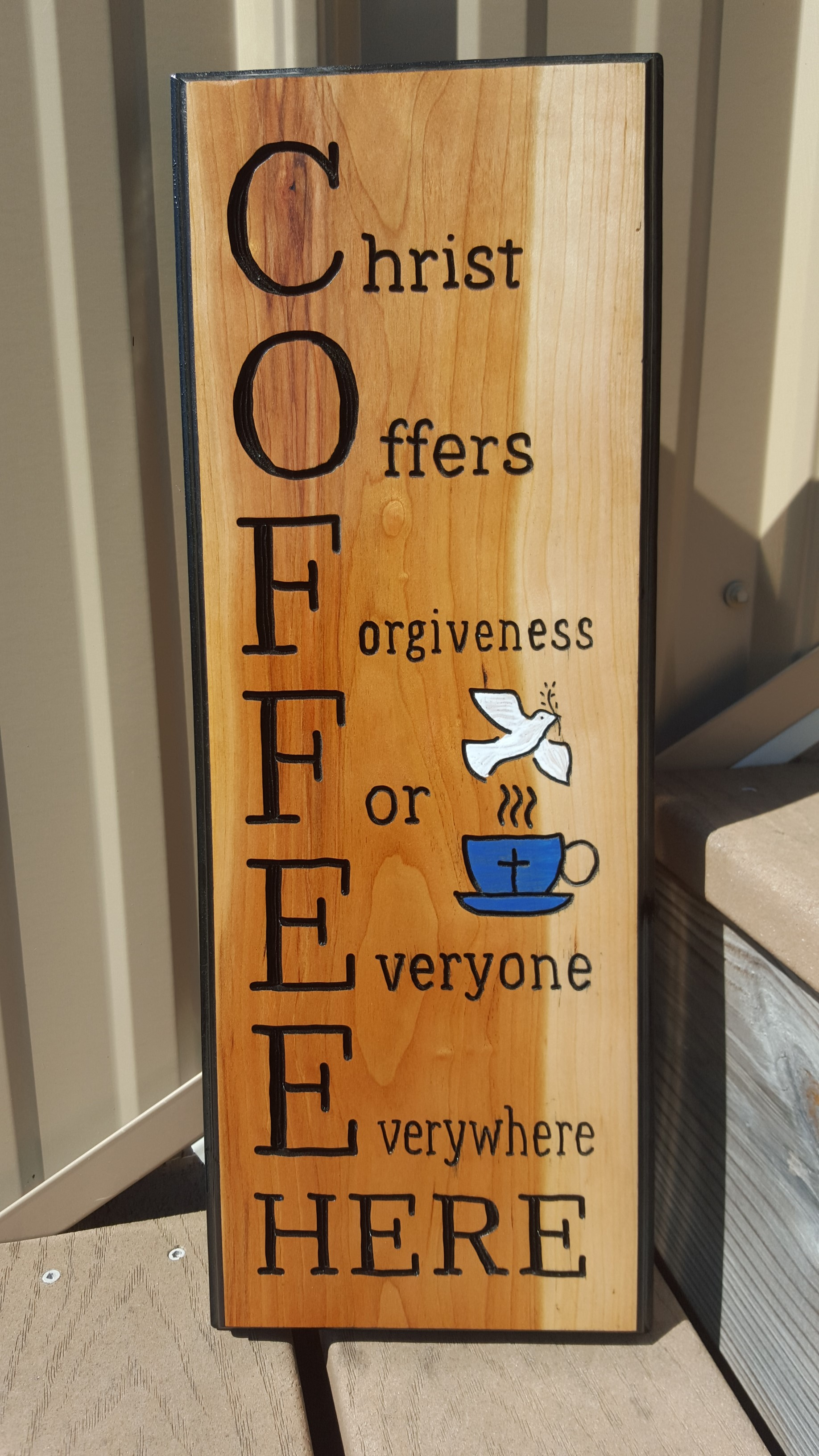 Handmade routed c o f f e e coffee wood sign christian for Handcrafted or hand crafted