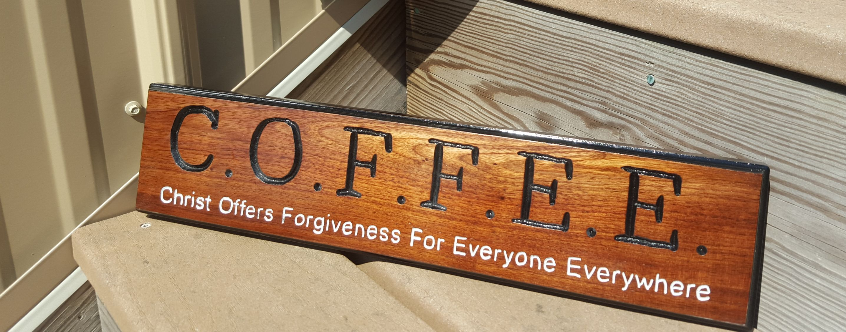 Handmade routed c o f f e e coffee wooden sign christian for Handcrafted or hand crafted
