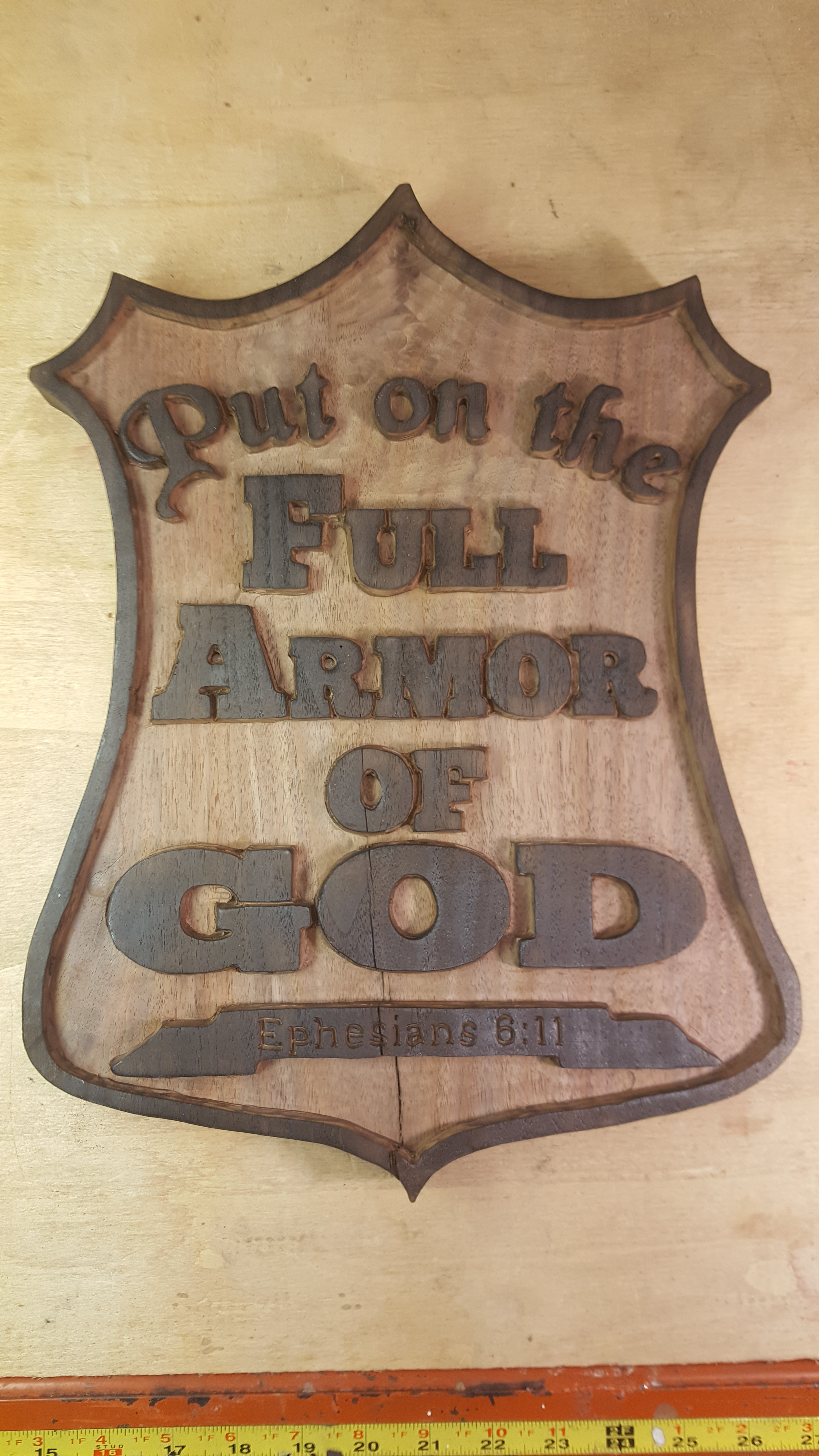 handmade routed put on the full armor of god wooden sign christian