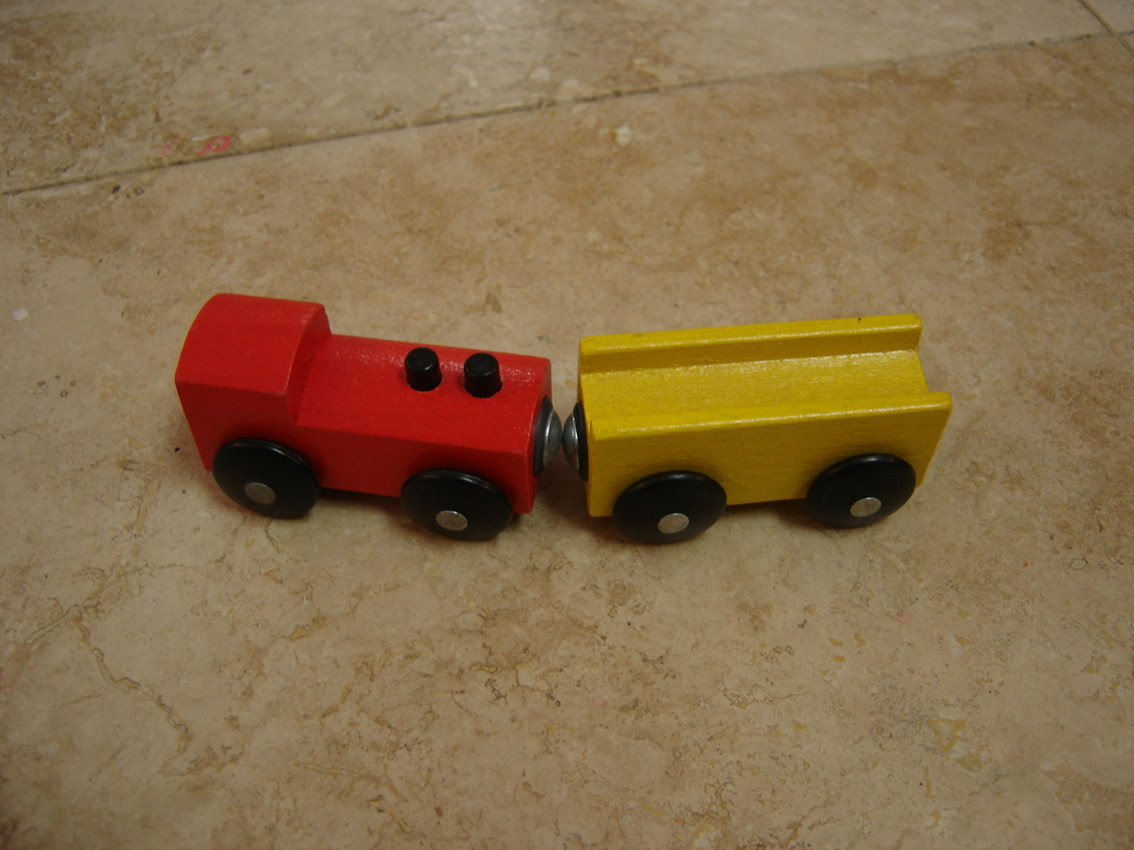 ikea wooden train red and yellow car set_193731c