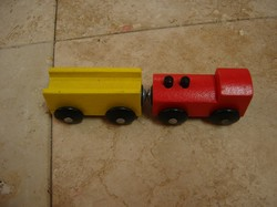 ikea wooden train red and yellow car set