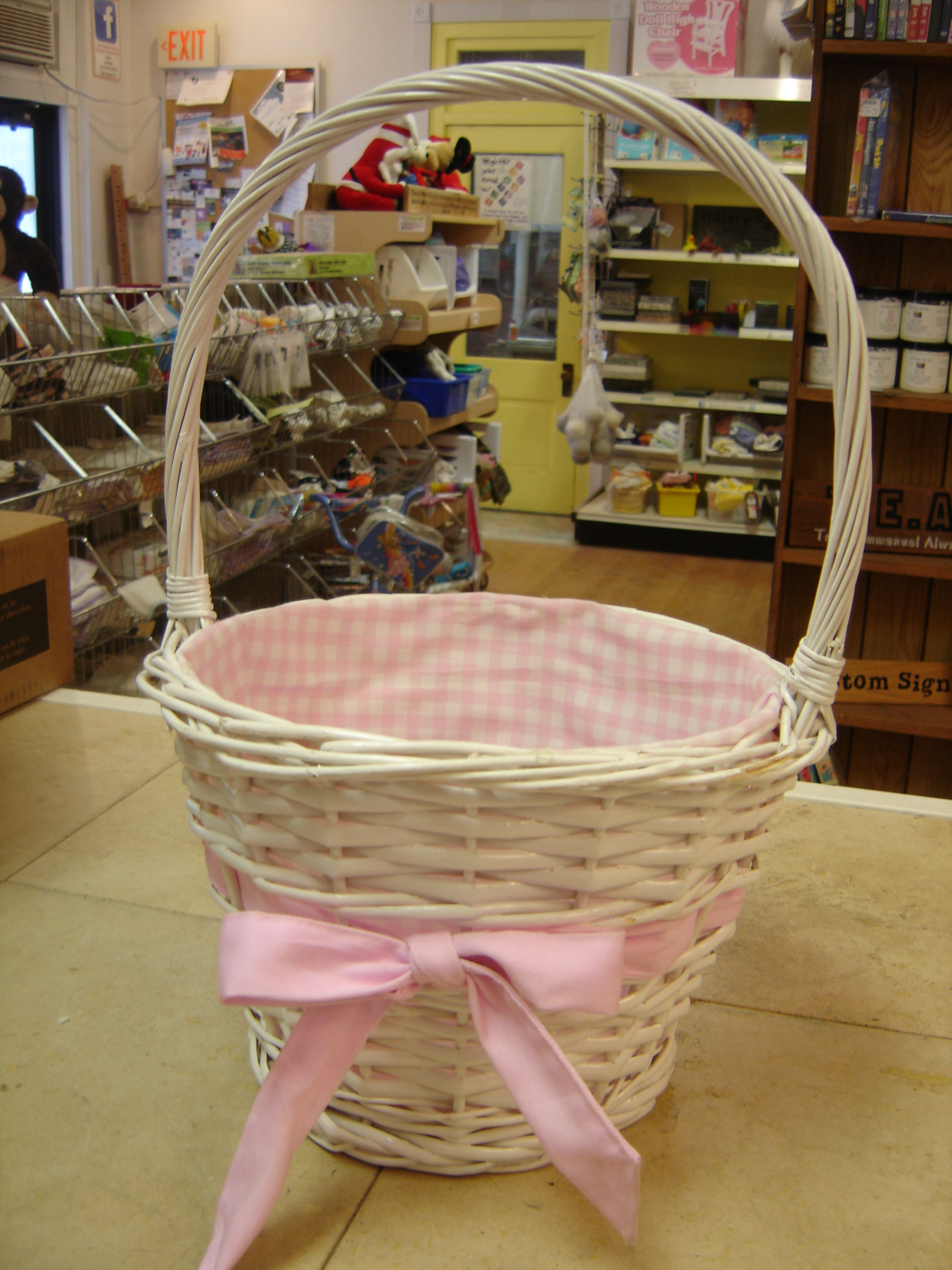 Large White Wicker Basket With Handle Pink Ginham