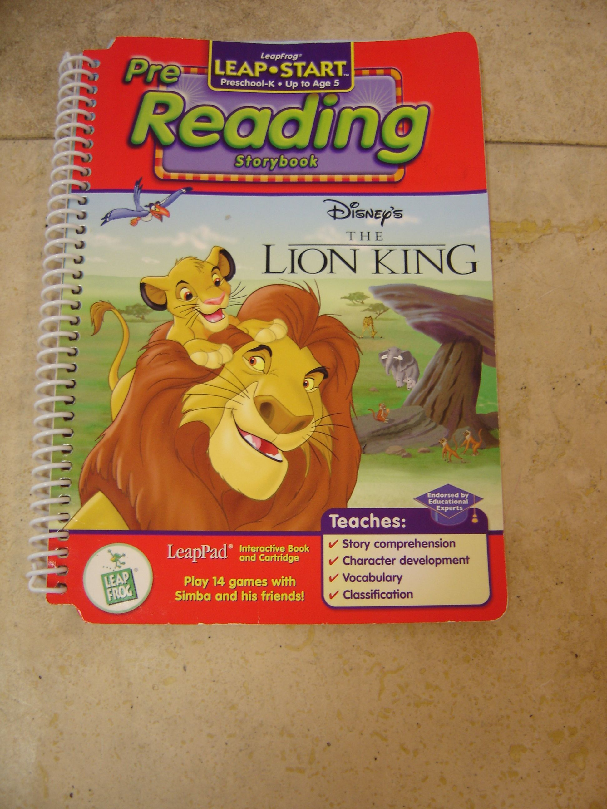 Leap Frog Leappad Pre Reading Disneys The Lion King Story Book No