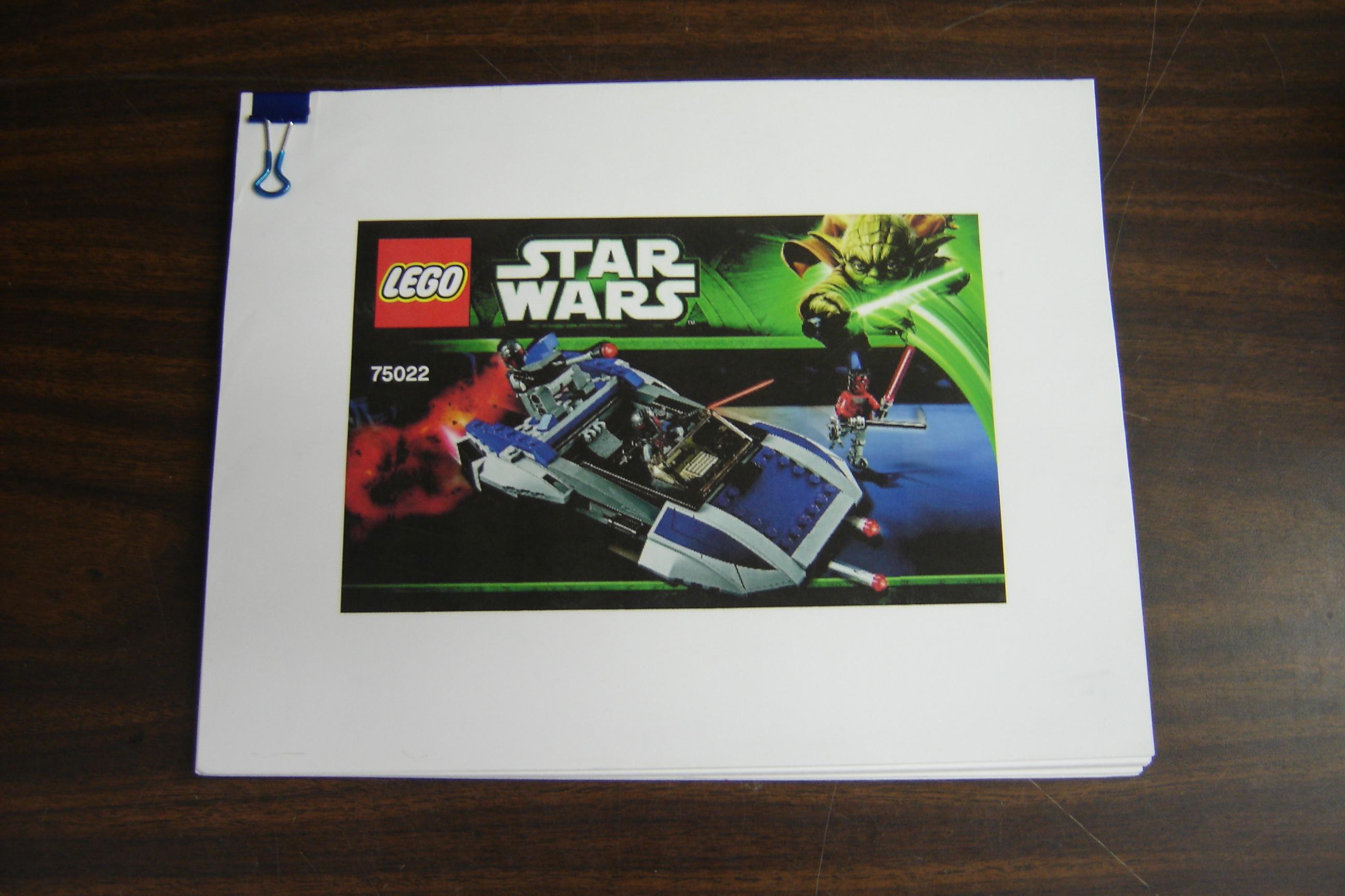 Lego Star Wars Mandalorian Speeder 75022 Printed Instruction Manual
