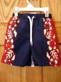 Carters Size 12m-18m Blue & Red Hybiscus Flower Swimwear Swimsuit