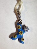EL9215 Letter X (Blue) Floral Charm for Bracelets by Ganz