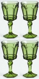 Fostoria Virginia Wine Glasses Set of 4 Green Olive NEW