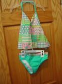 OP Size 6x Flowers and Hearts Two Piece  Swimwear Swimsuit