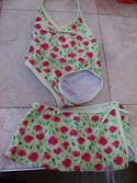 Carters Size 2T Floral Swimsuit with Skirt Cover