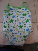 Max Grey Size 18m-24m-2T White Swimsuit with Colored Stars