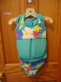 Lands End Size 2T Blue Flowers 2-piece Swimsuit and Swim Aid Set