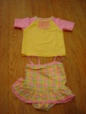Absorba Size 3T  Pink and Yellow Tank and Swimshirt Swimwear Swimsuit