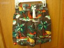 Children's Place 12 M Brown w/ Palm Tree Swim Trunks