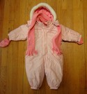 Zero Xposur Size 12m Pink Snowsuit with Scarf and Mittens USED