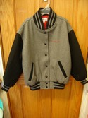 American Girl Small 5r Grey/ Black Lettermans Varsity Jacket with Emblems