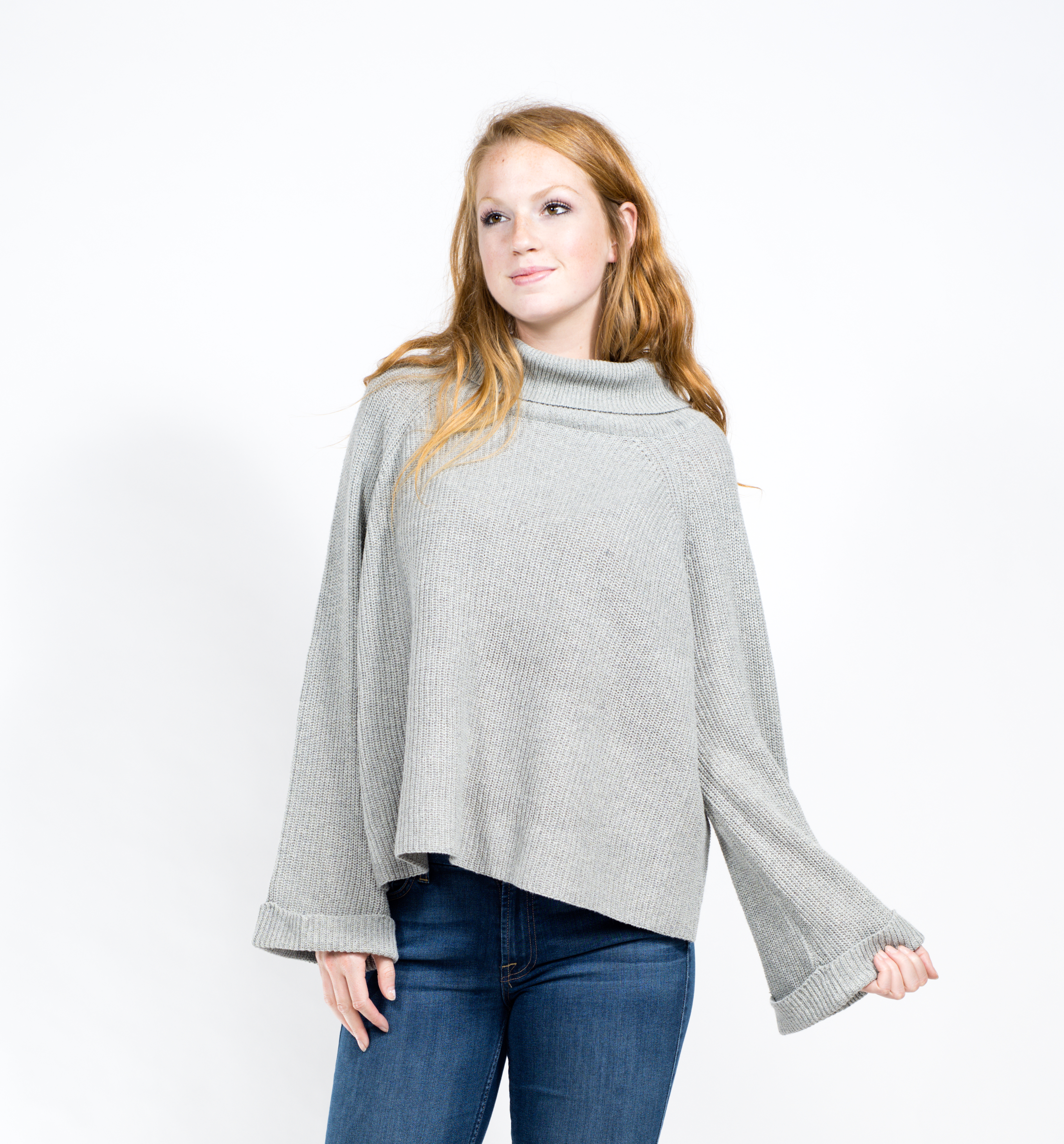 Flare sleeve cowl neck sweater | StyleDwell