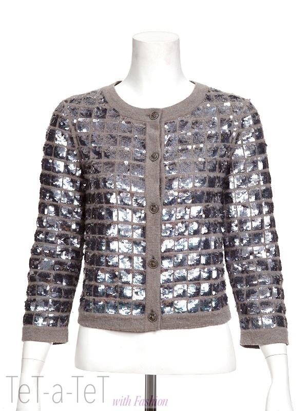 CHANEL 08P Gray Silver Sequin Cardigan FR-38 | Tet-a-Tet with ...