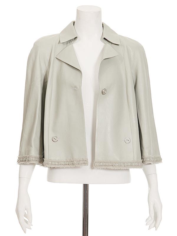 CHANEL 08P Pale Green Leather Silk Trim JACKET FR-42/44 | Tet-a ...