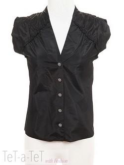 310491ec61f06 NWOT CHANEL 08A Black Silk Taffeta Blouse Top FR-36 38