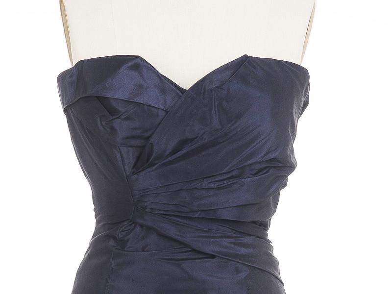 OSCAR DE LA RENTA Navy Blue Silk Taffeta Organza GOWN DRESS US-2/4 ...