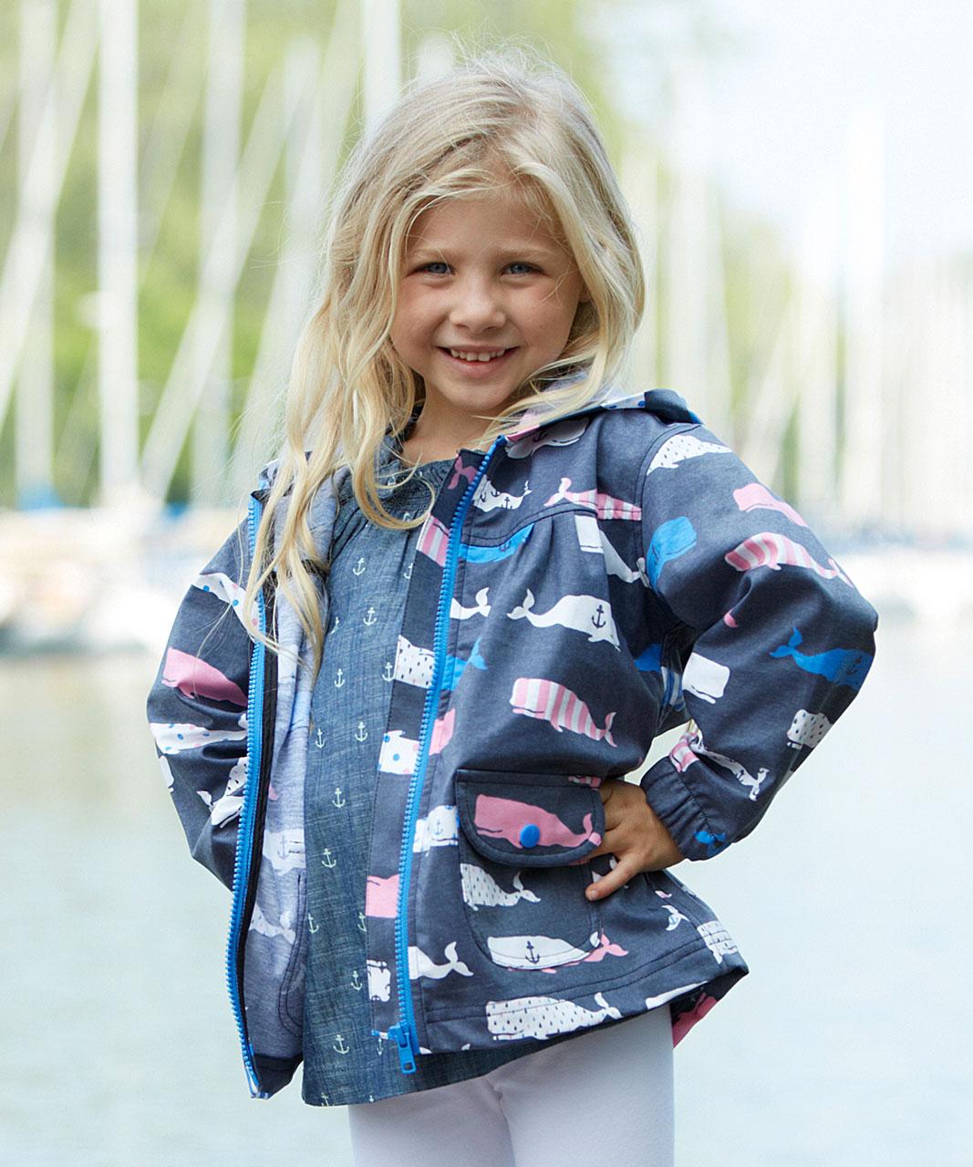 Hatley Lightweight Raincoat, Navy/Pink Whales   Kid ...