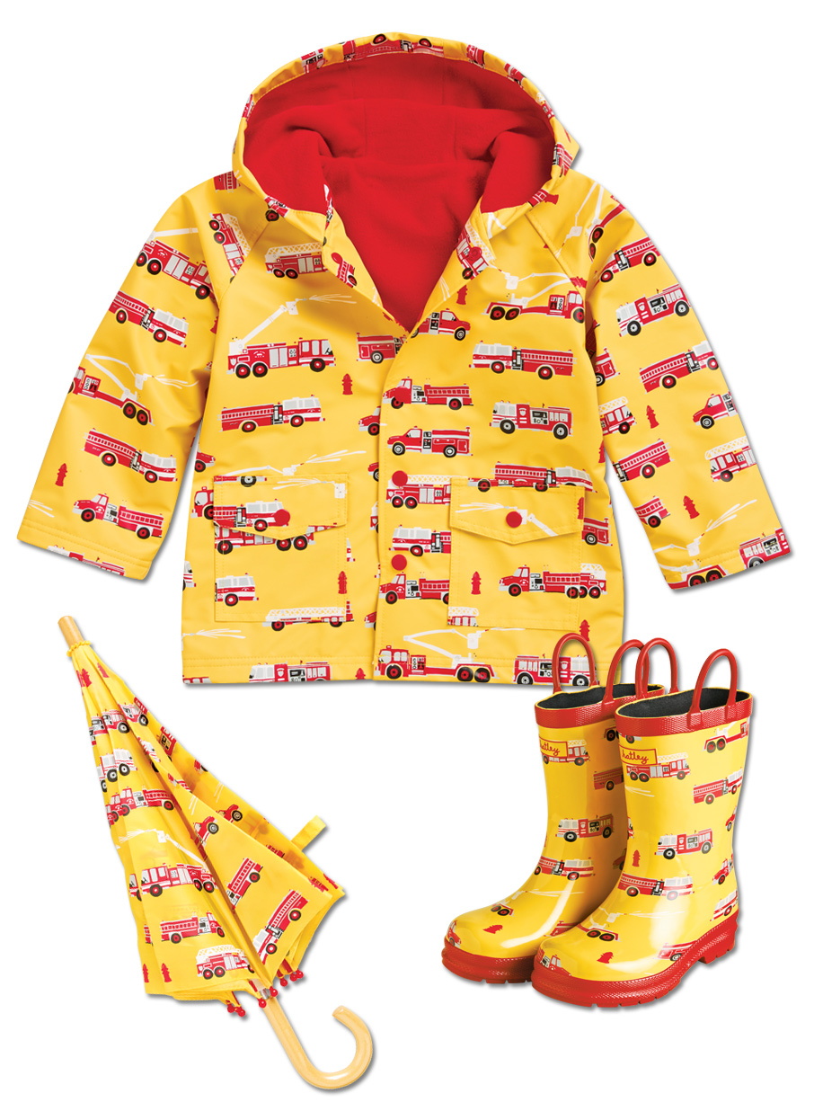 Hatley Lined Raincoat Fire Trucks Kid Friendly Footwear