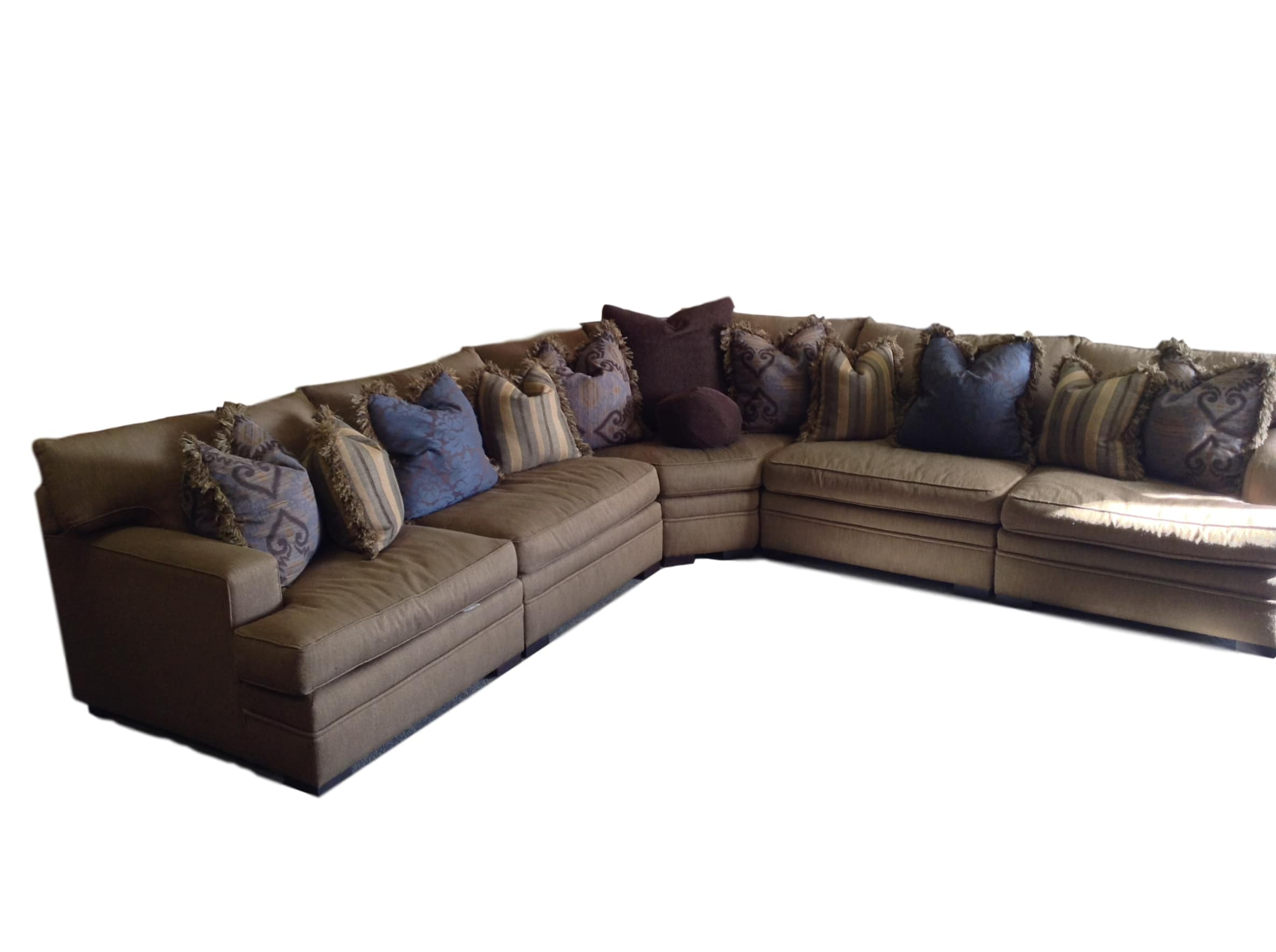 5 Piece Brown Fabric Sectional