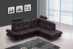 973 Modern Brown Full Leather Sectional Sofa