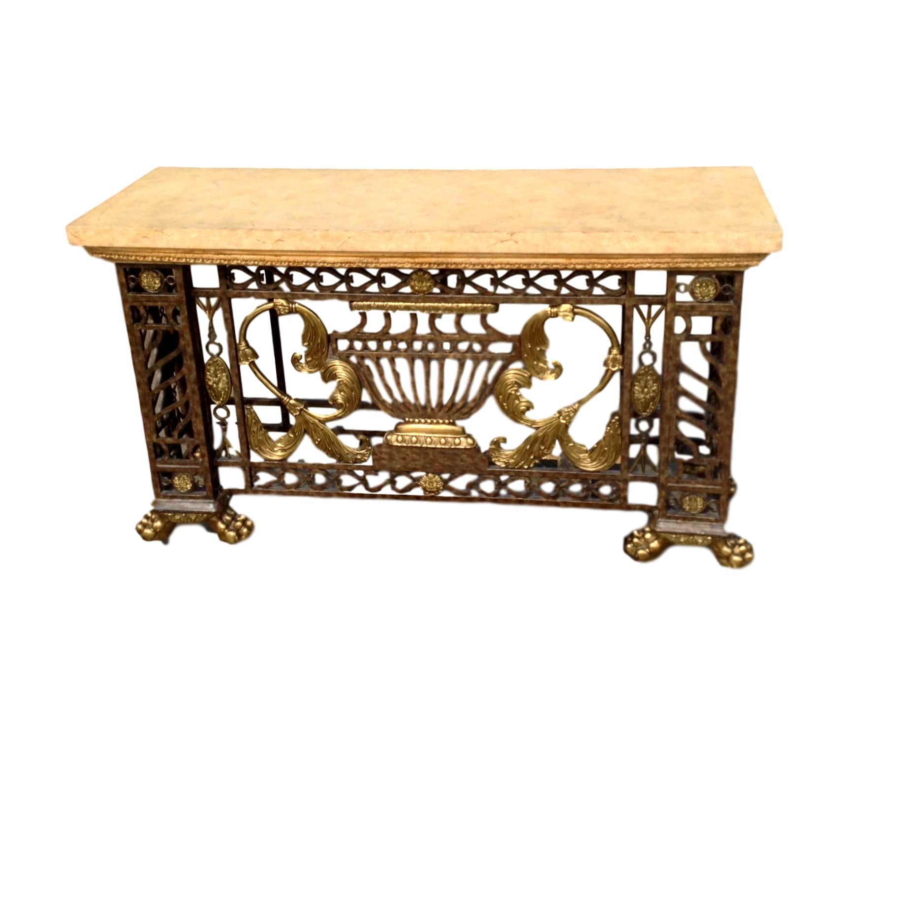 Beautiful Brass and Iron Sofa / Entry Table