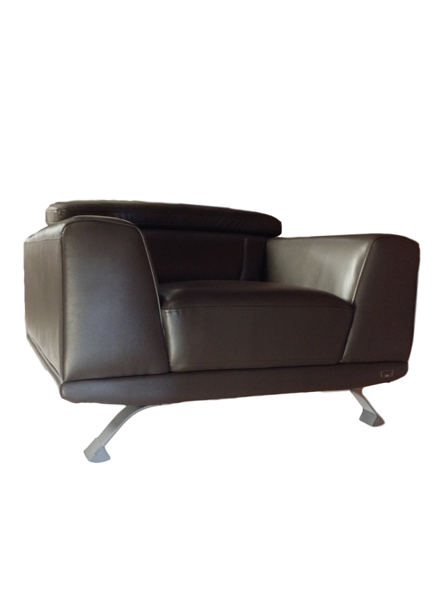 Brustle Modern Dark Grey Eco Leather Sofa Chair 77187b