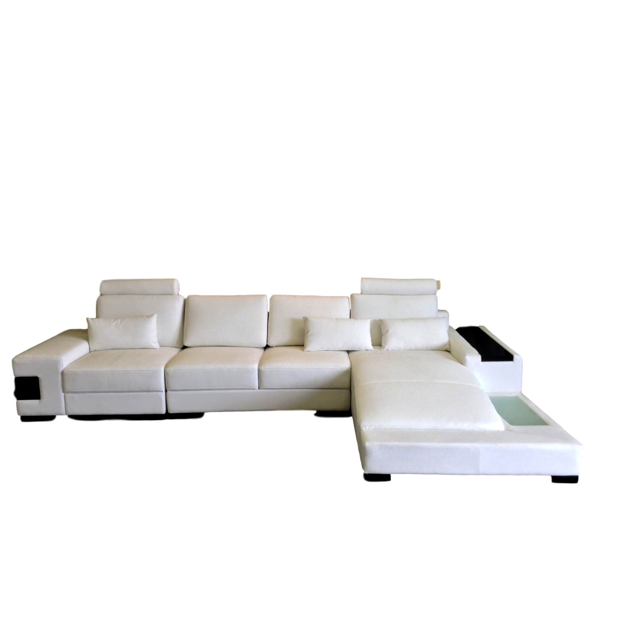 Diamond Modern White Leather Sectional Sofa with Lights
