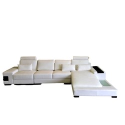 Captivating Diamond Modern White Leather Sectional Sofa With Lights