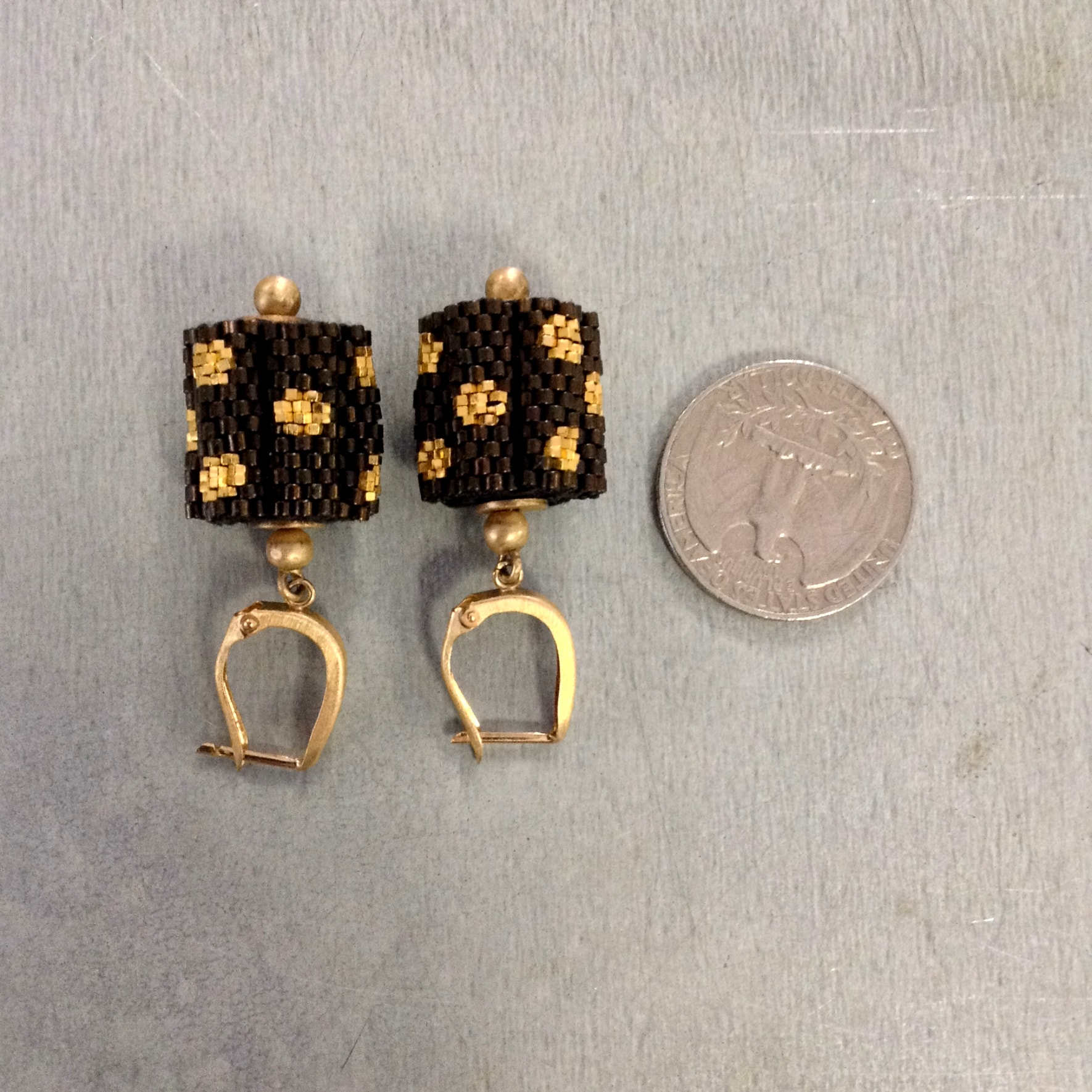 Mesh Handmade Earrings with Gold and Chocolate Brown From India ...