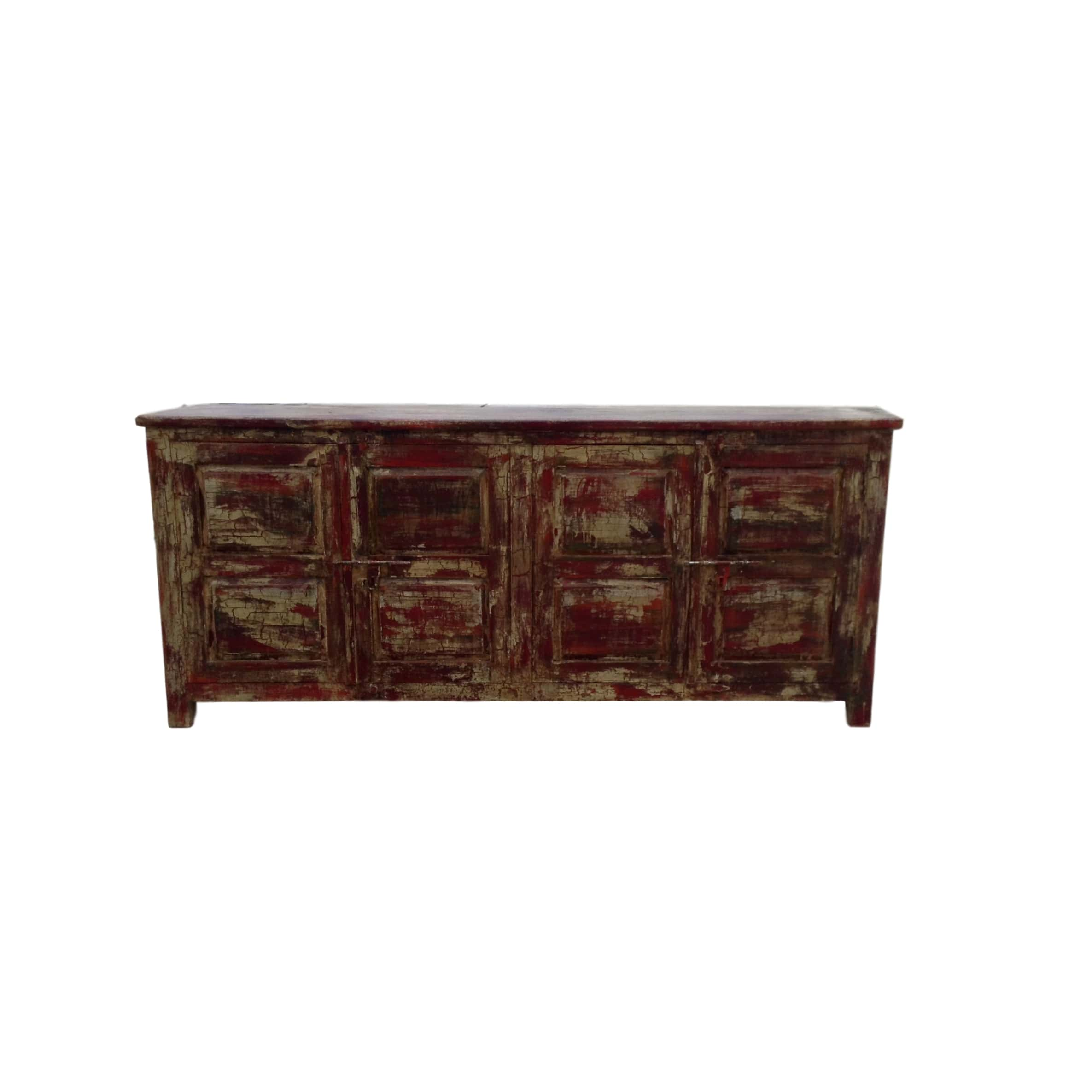 Red Distressed Storage Cabinet