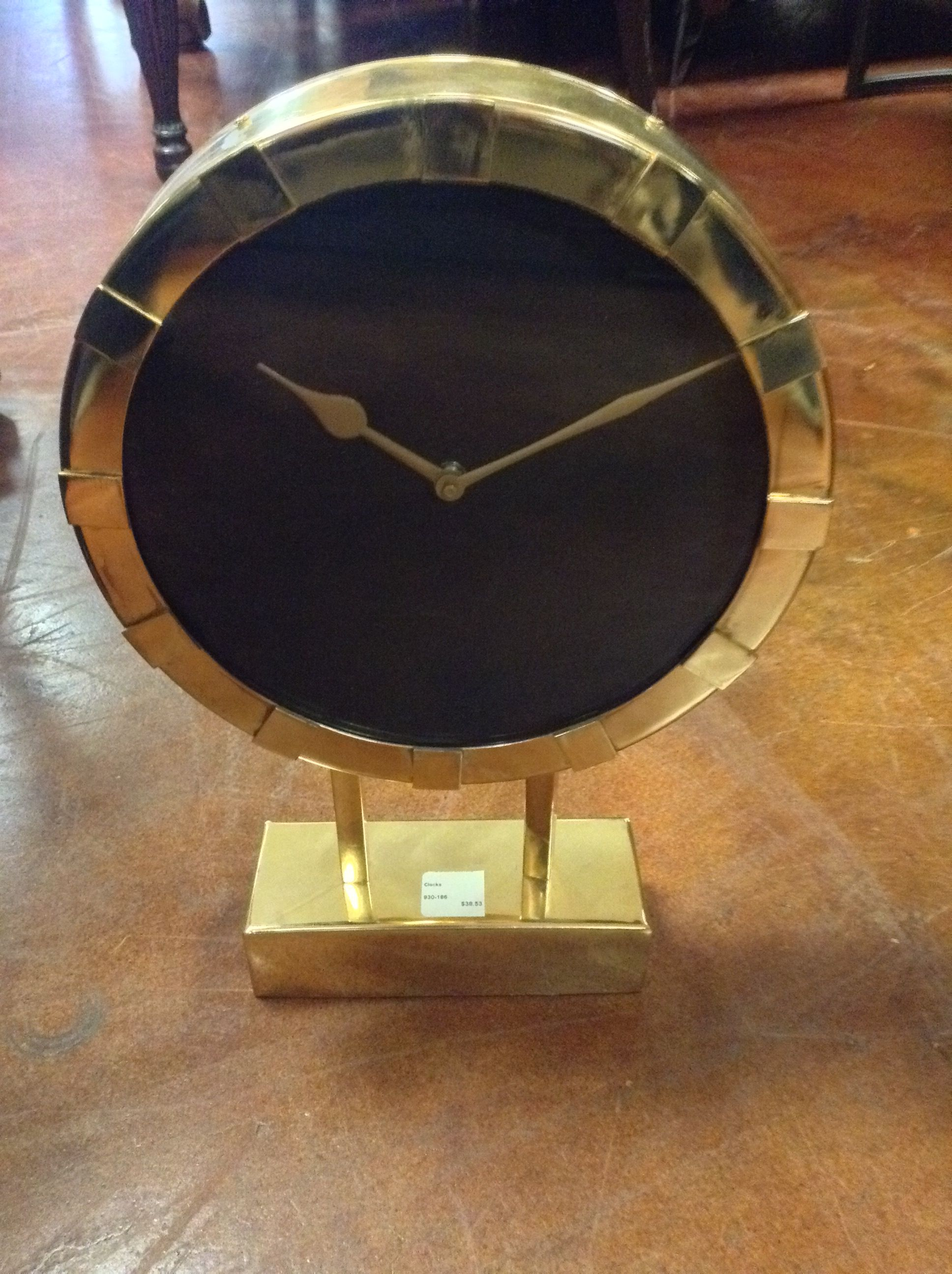 Round Stainless Steel Table Clock   Gold_80732A