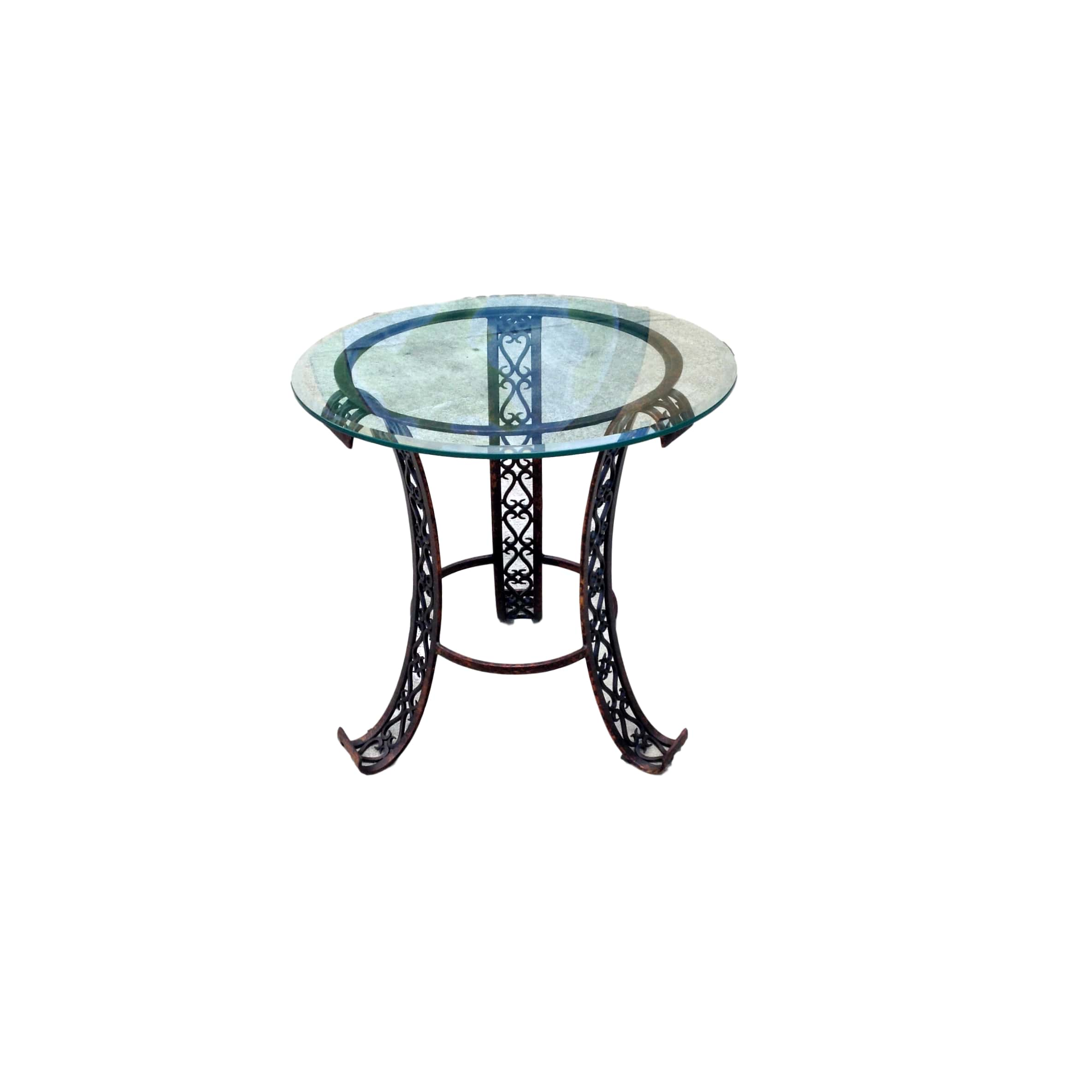 Shabby Painted Metal  Glass Table_77834A ...