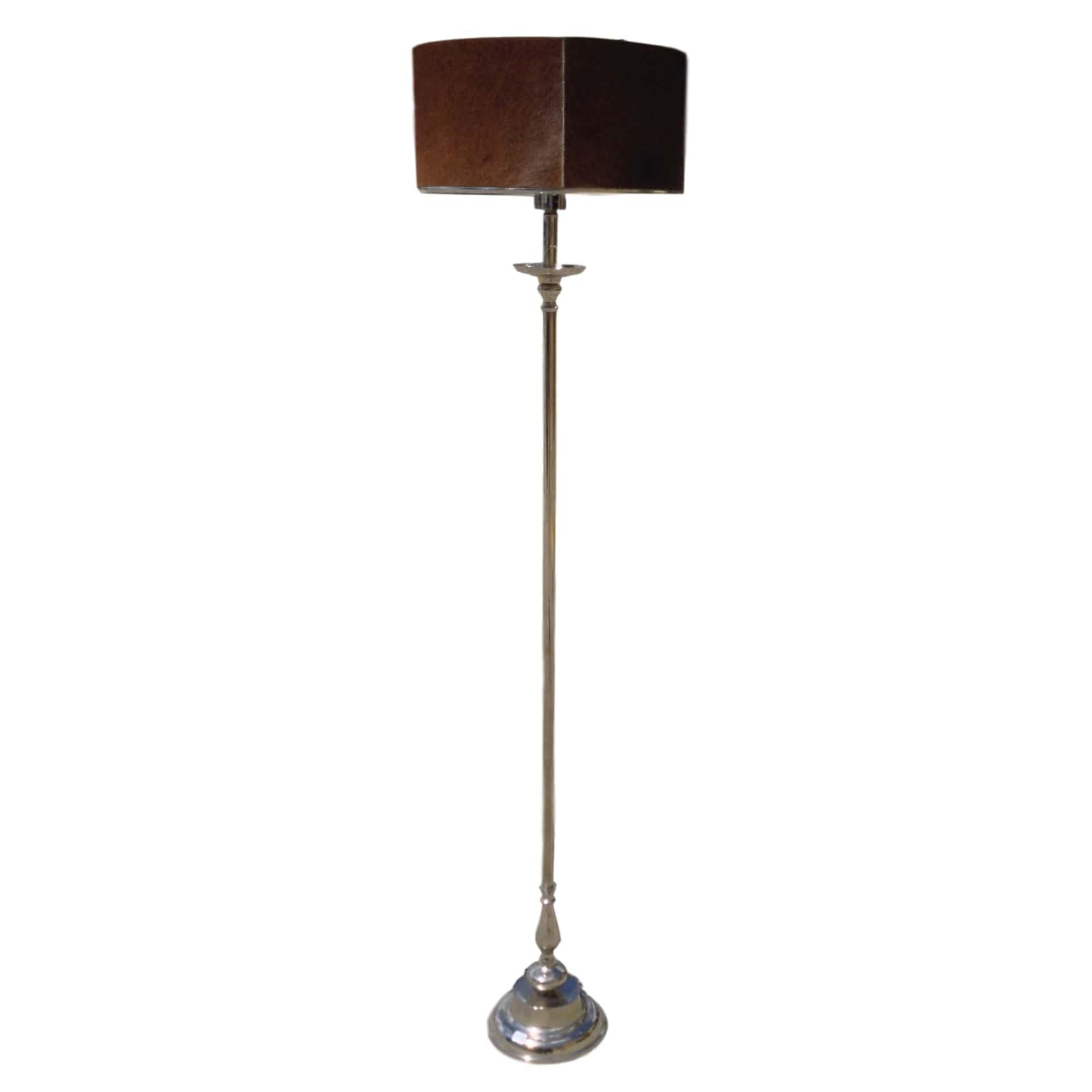 Silver Floor Lamp W Cowhide Shade_74836A