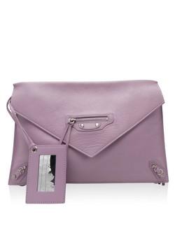 "Balenciaga Lilac Leather ""Papier Clutch"" with Silver Side Zip Handbag"