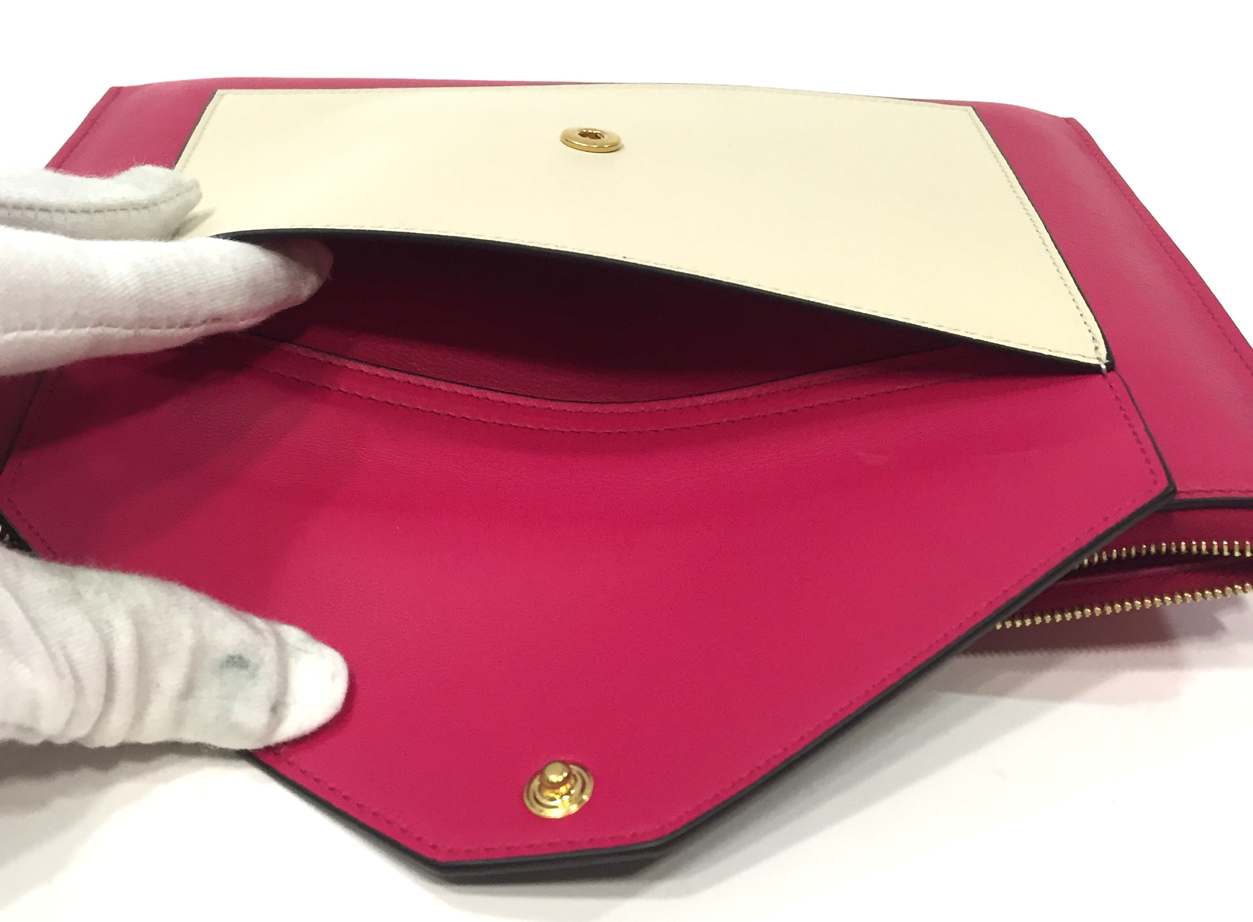 celine bags online shopping - Celine Fuschia and Cream Leather Pocket Clutch Handbag | Alexis ...