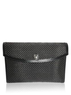 Hermes Black Rio Metal Crinoline Pochette Clutch Handbag