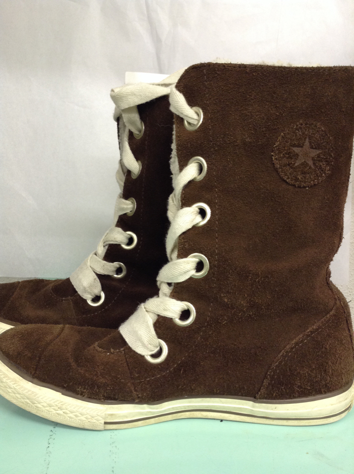 c809b22a97a ... lined sz 5.5 tennis shoes 5E. CONVERSE-girls-boots-dark-brown-suede-faux -fur- ...