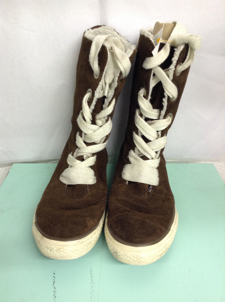 1e952dbb494 CONVERSE girls boots dark brown suede faux fur lined sz 5.5 tennis ...