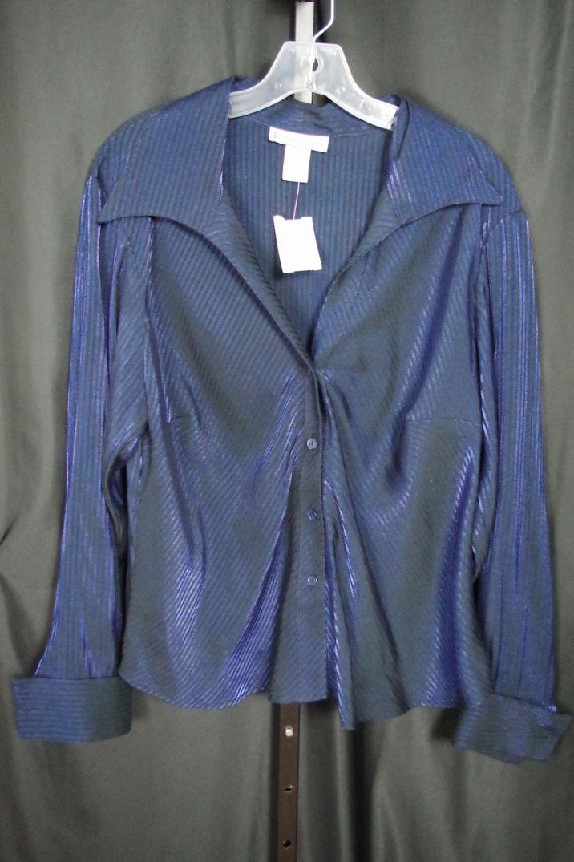 c9795621 Dress Barn Metalic Blue Striped Button Down XL Blouse Top Shirt 3A ...
