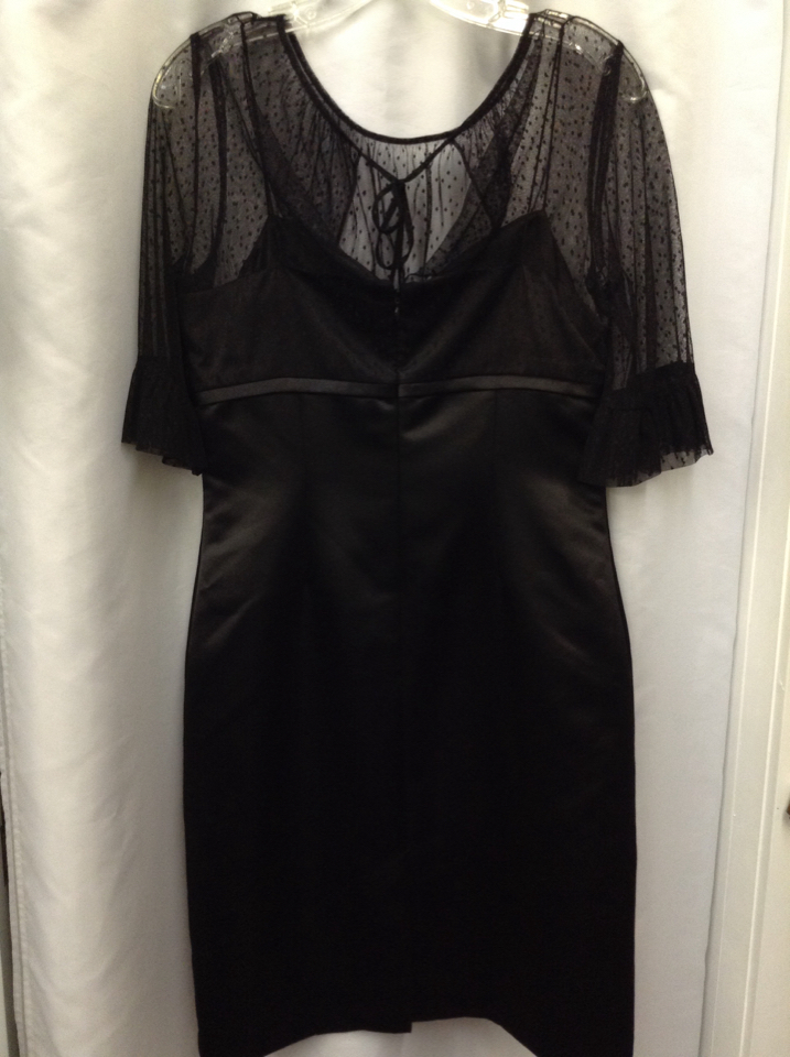 Tahari Womens Size 8 Black Dress 34 Length Sleeve Sheer Top 9e