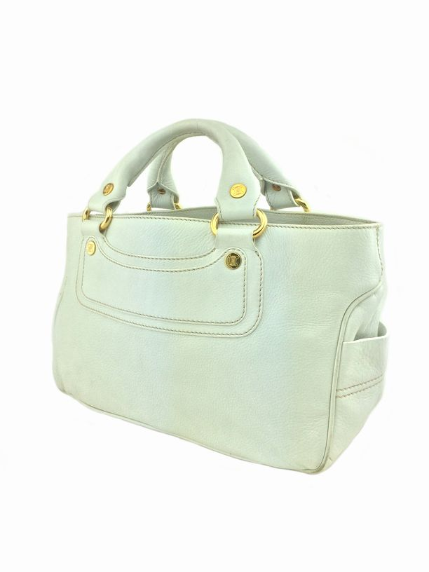 celine boogie brown leather gray monogram canvas grab bag satchel