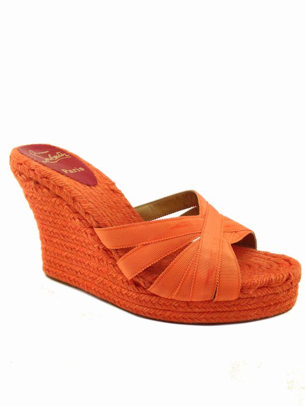 christian louboutin espadrille sandals Black grosgrain straps ...